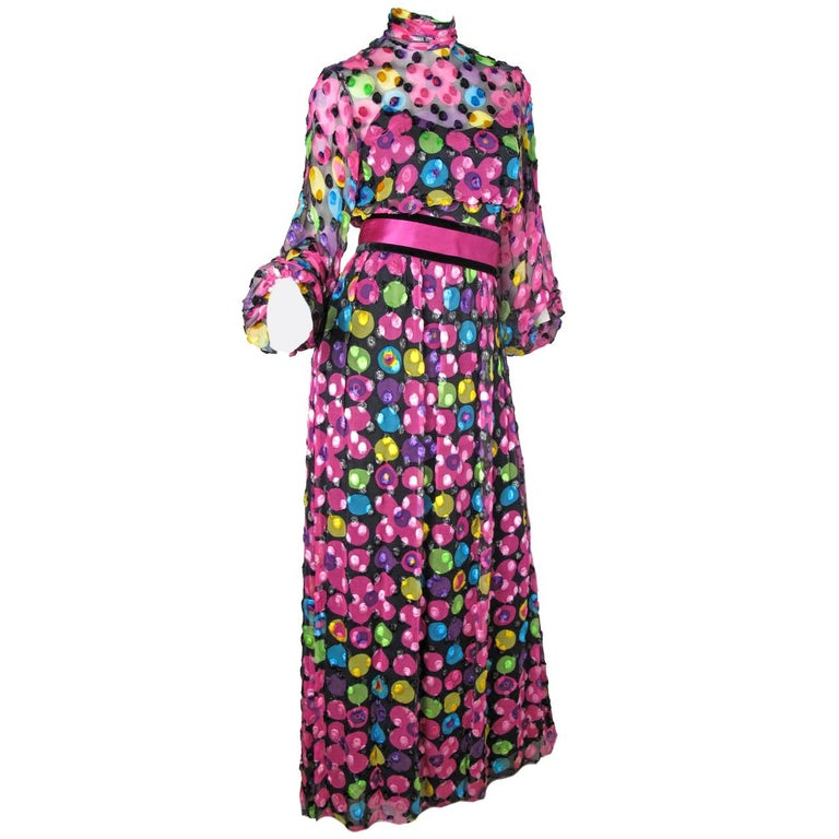 Mollie Parnis Silk Chiffon Maxi Gown with Velvet Dot Design, 1960s  For Sale
