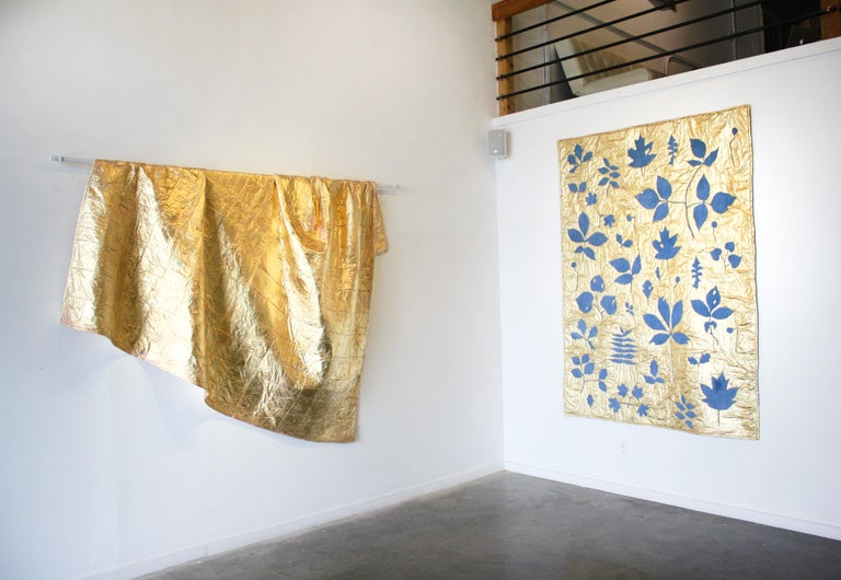 Leaves in Indigo Blue (gold leaf, machine sewn, hand dyed quilt) - American Realist Mixed Media Art by Molly Barnes
