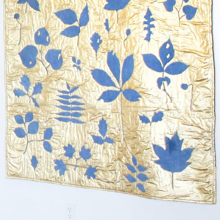 Leaves in Indigo Blue (gold leaf, machine sewn, hand dyed quilt) For Sale 1