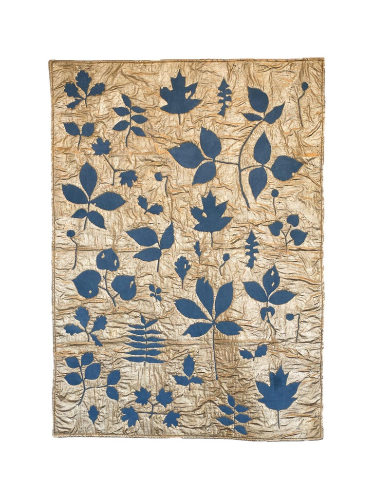 Leaves in Indigo Blue (gold leaf, machine sewn, hand dyed quilt) - Mixed Media Art by Molly Barnes
