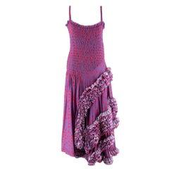 Molly Goddard Runway Lilac Polka Dot Ruffled Midi Dress - Size US 6