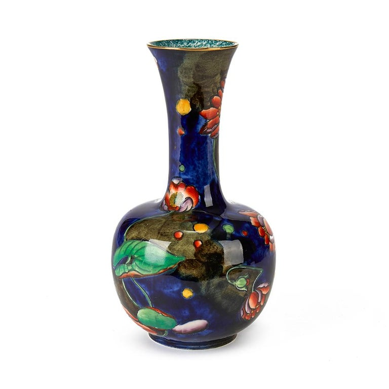 Art Nouveau Molly Hancock Coronware Water Lily Painted Vase, circa 1920 For Sale