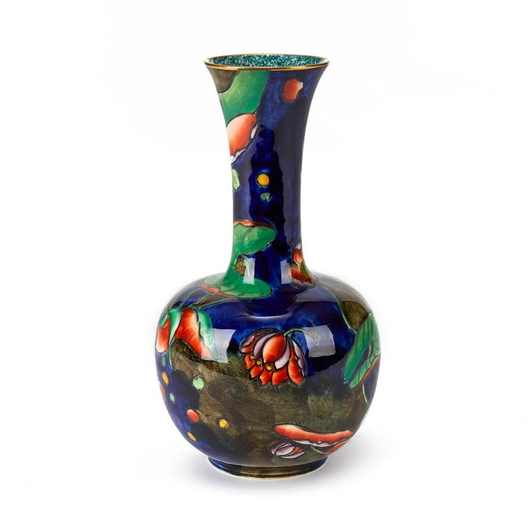 English Molly Hancock Coronware Water Lily Painted Vase, circa 1920 For Sale