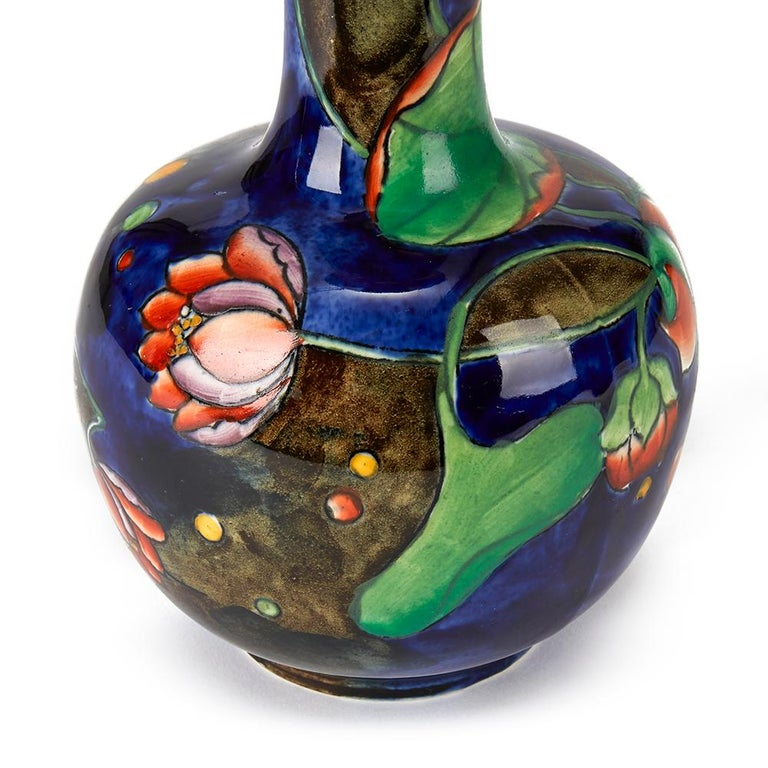 Molly Hancock Coronware Water Lily Painted Vase, circa 1920 In Fair Condition For Sale In Bishop's Stortford, Hertfordshire