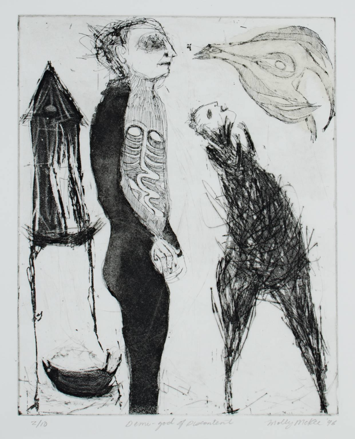 """""""Demi-God of Discontent,"""" Original Etching and Aquatint signed by Molly McKee"""