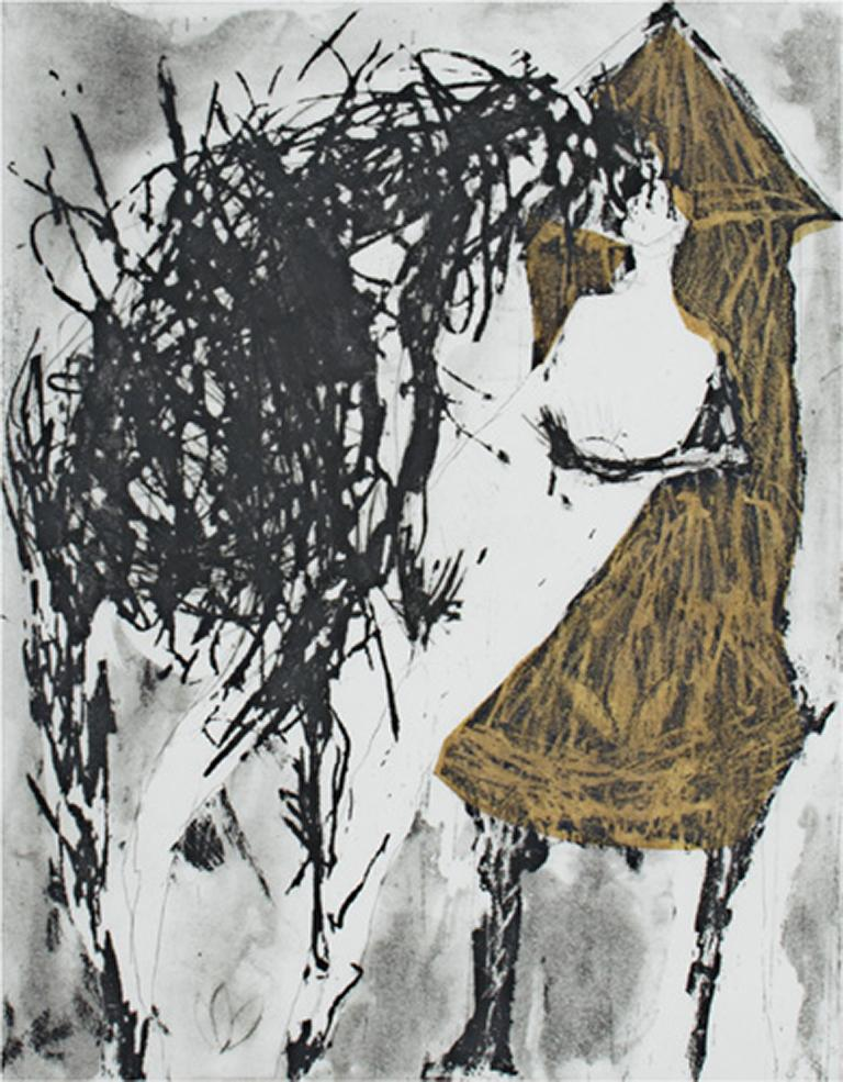 """""""Hinting (With Chine Colle)"""" is an etching and an aquatint signed by Molly McKee. This complex print starts with a mass of black scribbles that are in the foreground near the upper left. The next piece is a woman's torso. Covered up slightly by the"""