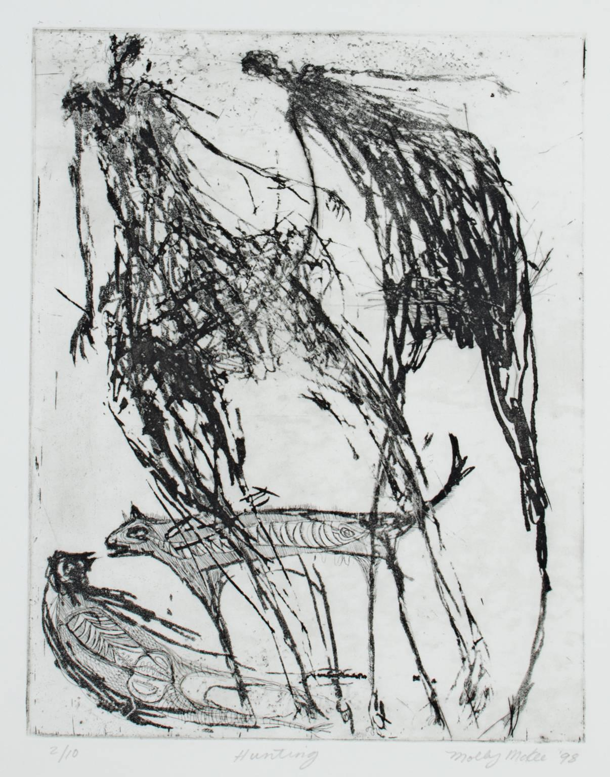 """""""Hunting,"""" Original Etching and Aquatint signed by Molly McKee"""