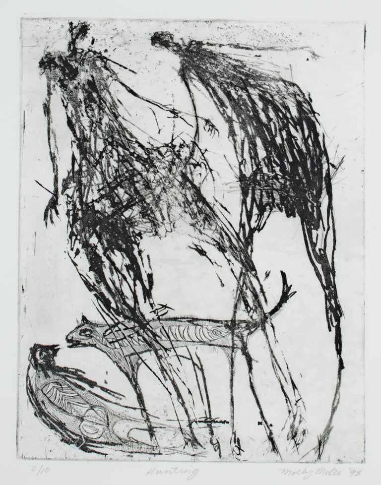 """""""Hunting"""" is an original etching and aquatint by Molly McKee. The artist signed the piece in the lower right, titled it lower center, and wrote the edition number (2/10) in the lower left. It depicts a few abstracted human figures in McKee's surreal"""