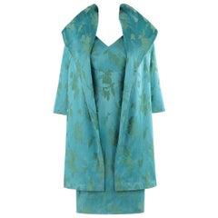MOLLY MODES New York c.1950's 2 Pc Blue Green Floral Silk Dress Swing Coat Set