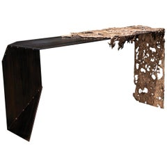"Molten Bronze and Black Steel Entryway Table ""Schoenherr Console Table"""