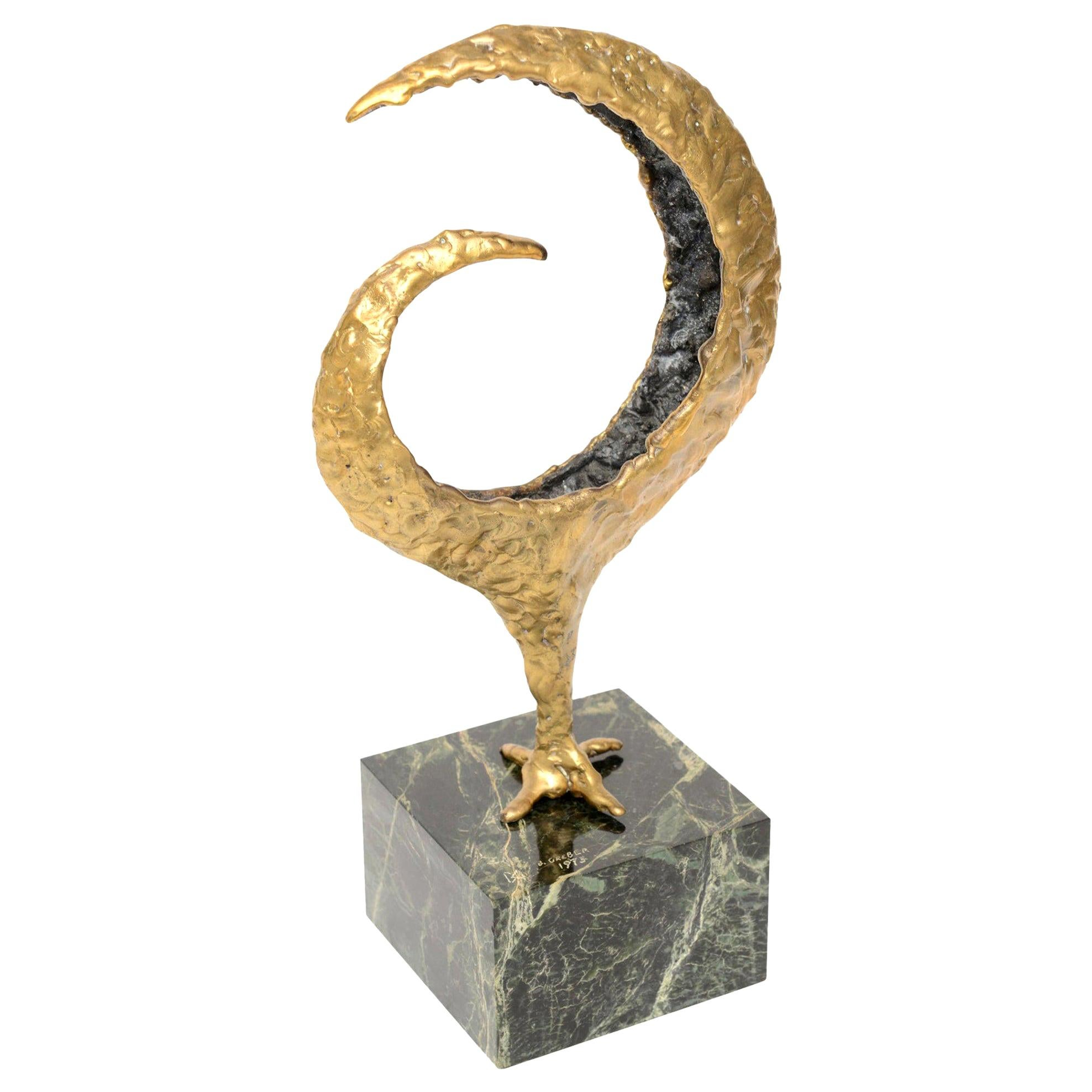 Molten Bronze and Green Marble Signed Gerber Abstract Sculpture Vintage
