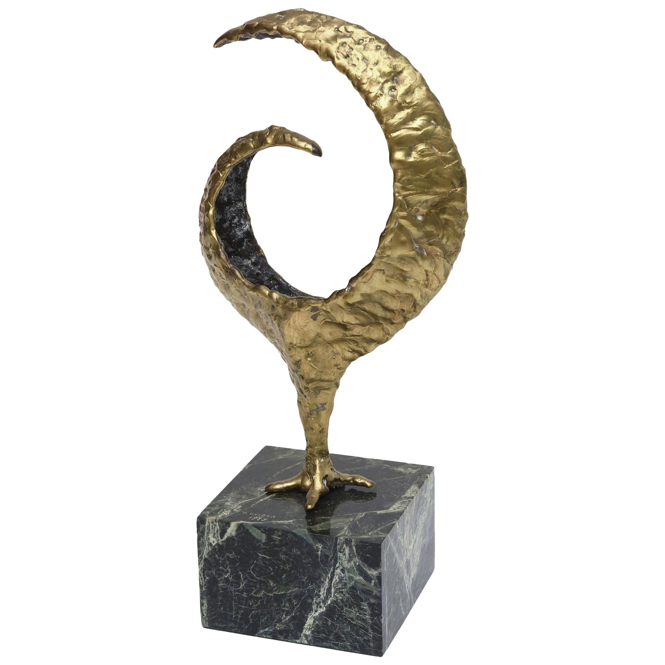Molten Bronze and Variegated Marble Signed Sculpture Vintage