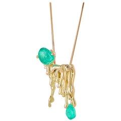 Molten MUZO Candelabra Necklace 18 Fairtrade Gold 20.63 Emerald