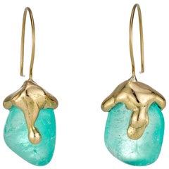 Molten Muzo Earrings 18 Carat Recycled Gold 26.4 Carat Emerald
