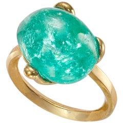 Molten Muzo Ring I 18 Carat Recycled Gold 11.05 Carat Emerald