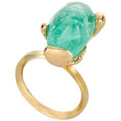 Molten MUZO Ring II 18 Carat Fairtrade Gold 12.44 Carat Emerald