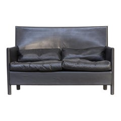 Molteni & C Black Leather Double Seat Sofa