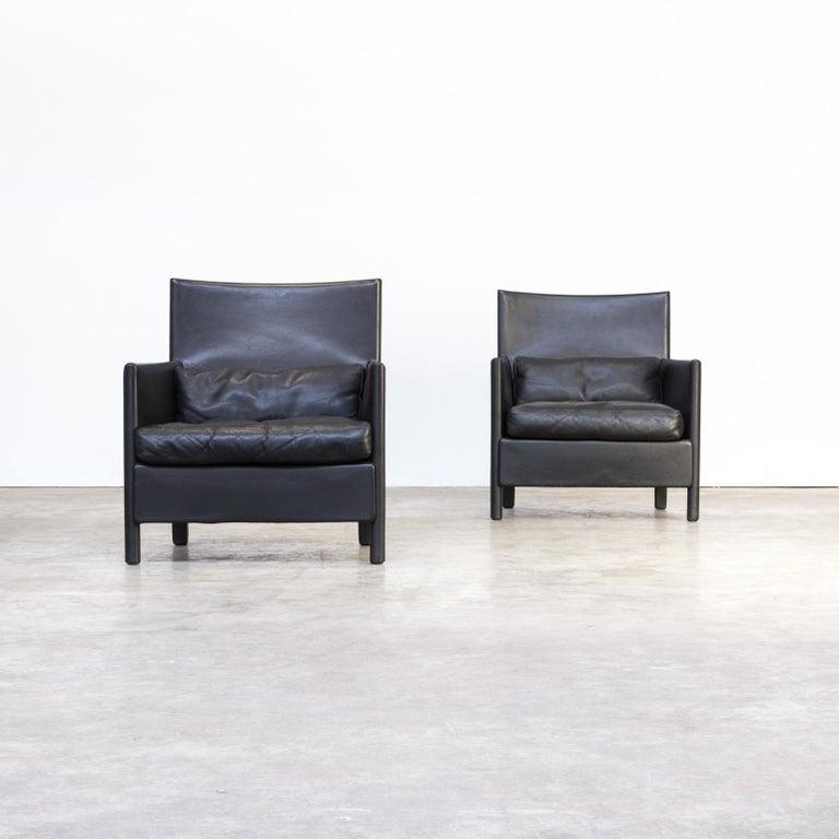 Modern Design Fauteuil.Molteni C Black Leather Lounge Fauteuil Set Of 2