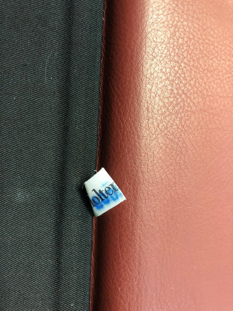 Molteni & C Red Leather Pair of Lounge Chairs For Sale 5