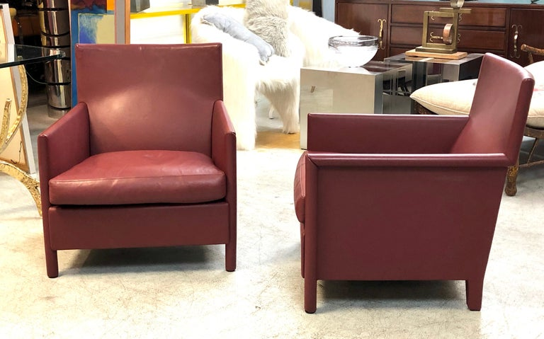 Molteni & C Red Leather Pair of Lounge Chairs For Sale 6