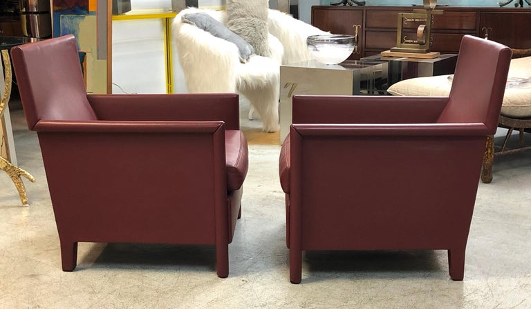 Molteni & C Red Leather Pair of Lounge Chairs For Sale 7
