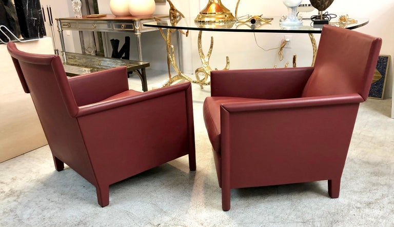 Molteni & C Red Leather Pair of Lounge Chairs For Sale 3