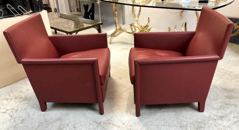 Molteni & C Red Leather Pair of Lounge Chairs For Sale 4