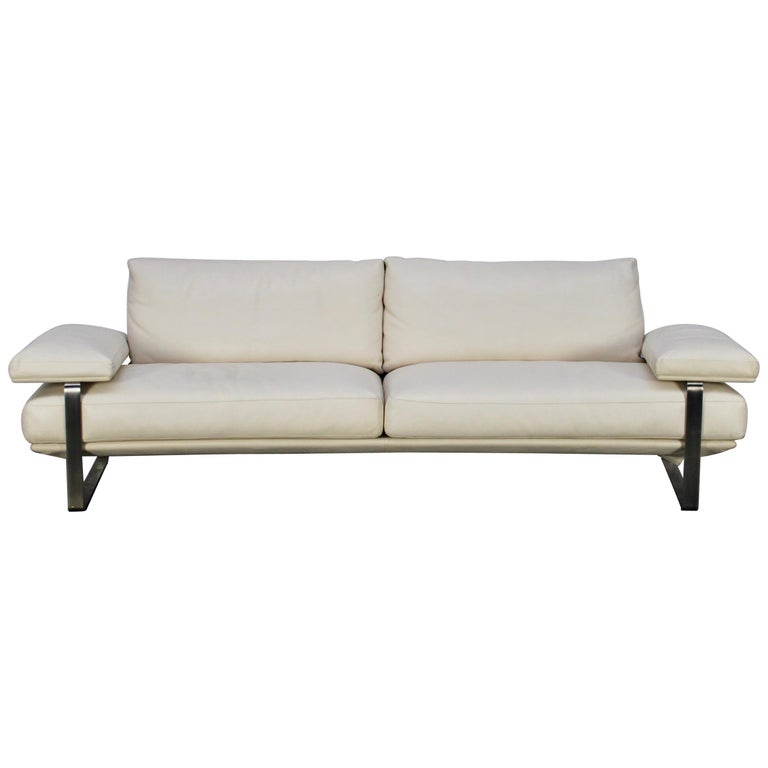 """Molteni & C """"Still SDC250"""" Curved Sofa in Ivory Leather"""