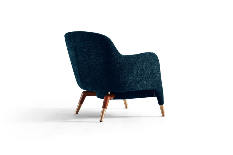 Italian Molteni&C D.151.4 Armchair in Blue Velvet by Gio Ponti For Sale