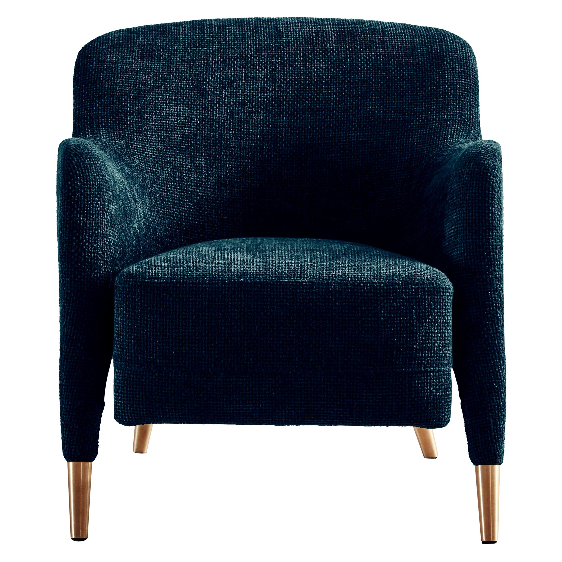 Molteni&C D.151.4 Armchair in Blue Velvet by Gio Ponti