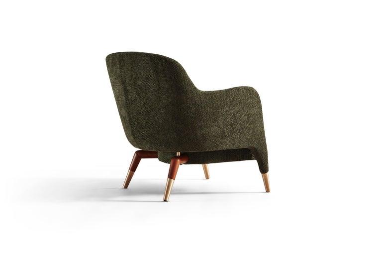 Italian Molteni&C D.151.4 Armchair in Green Chenille Fabric by Gio Ponti For Sale