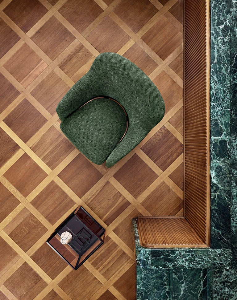 Hand-Crafted Molteni&C D.151.4 Armchair in Green Chenille Fabric by Gio Ponti For Sale