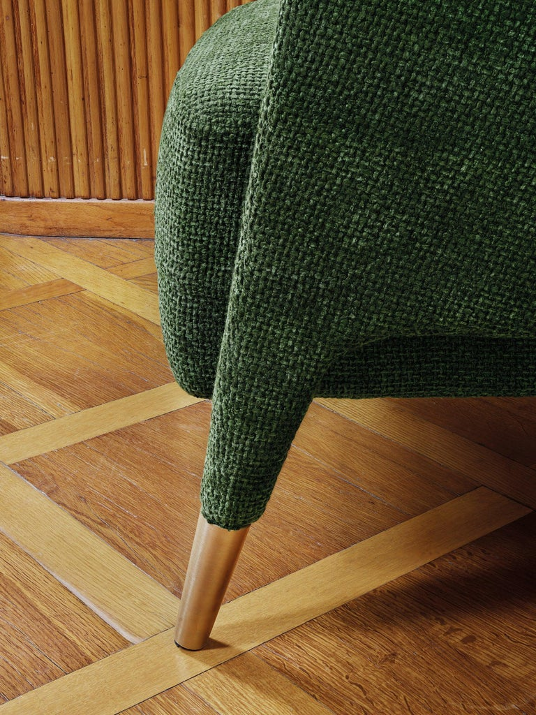 Molteni&C D.151.4 Armchair in Green Chenille Fabric by Gio Ponti In New Condition For Sale In New York, NY