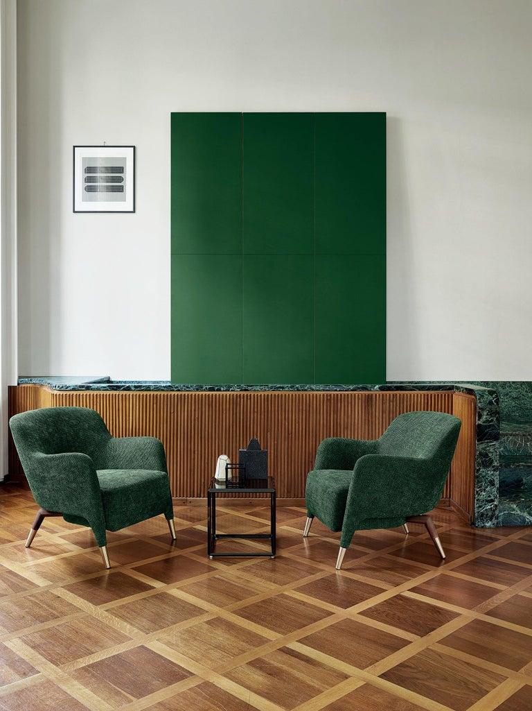Contemporary Molteni&C D.151.4 Armchair in Green Chenille Fabric by Gio Ponti For Sale