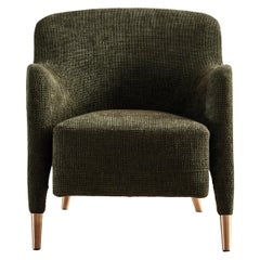 Molteni&C D.151.4 Armchair in Green Chenille Fabric by Gio Ponti