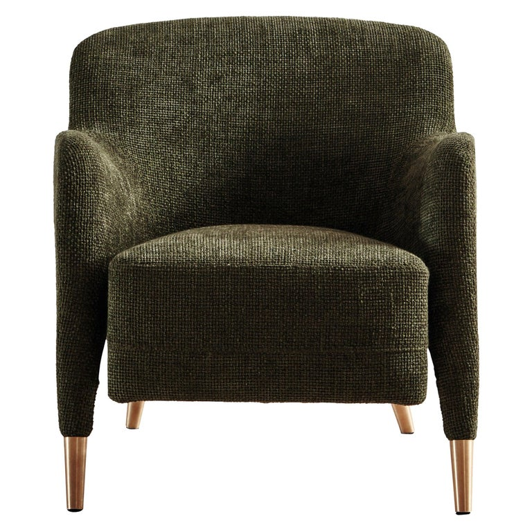 Molteni&C D.151.4 Armchair in Green Chenille Fabric by Gio Ponti For Sale
