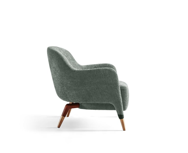 Modern Molteni&C D.151.4 Armchair in Light Grey Linen Fabric by Gio Ponti For Sale