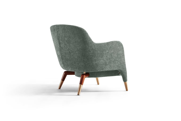 Italian Molteni&C D.151.4 Armchair in Light Grey Linen Fabric by Gio Ponti For Sale
