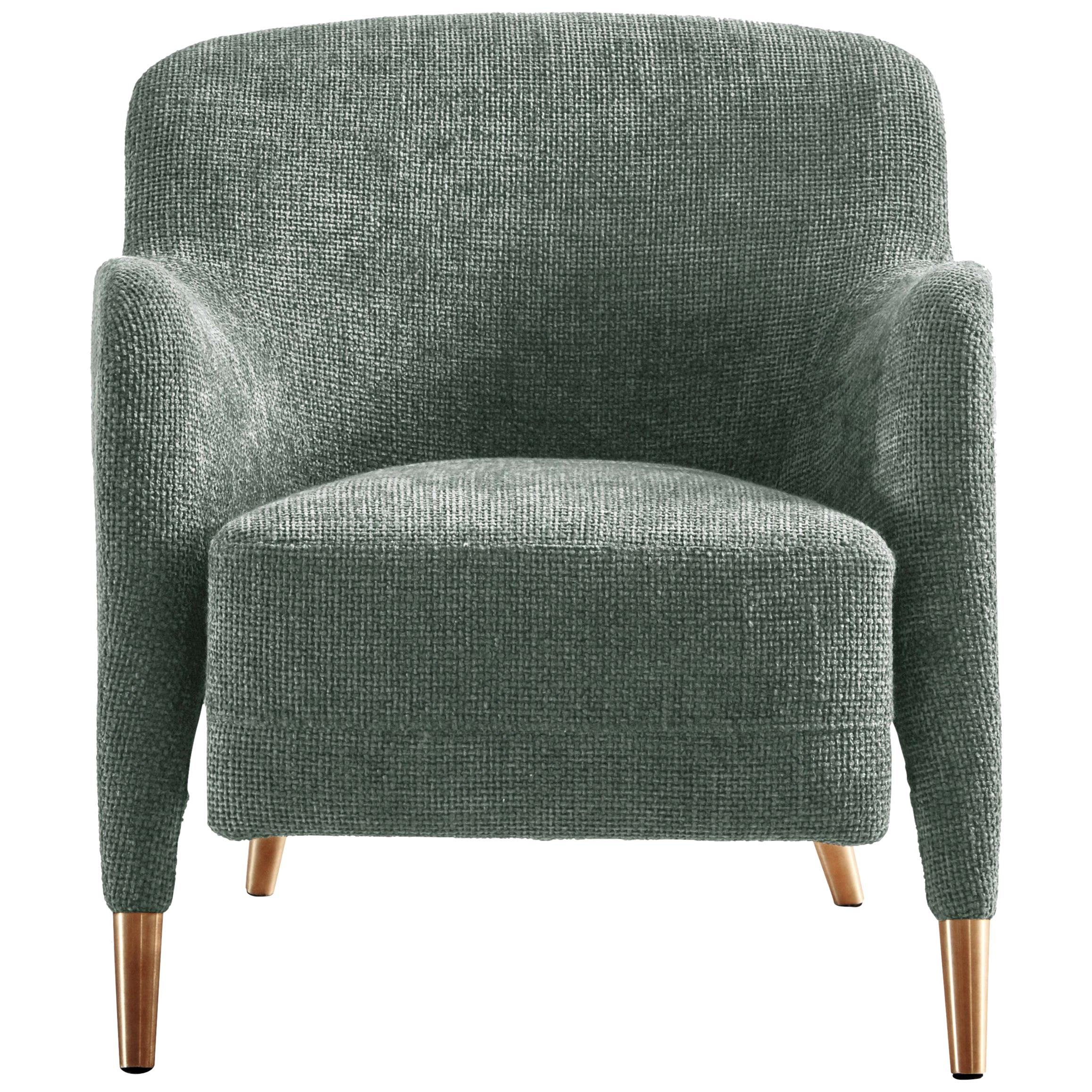 Molteni&C D.151.4 Armchair in Light Grey Linen Fabric by Gio Ponti