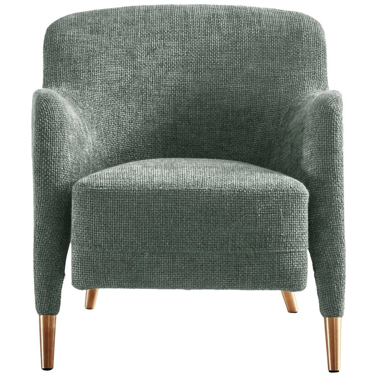 Molteni&C D.151.4 Armchair in Light Grey Linen Fabric by Gio Ponti For Sale