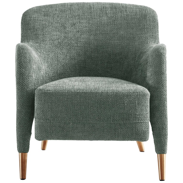 For Sale: Gray (WF580_Light Grey) Molteni&C D.151.4 Armchair in Linen Fabric by Gio Ponti