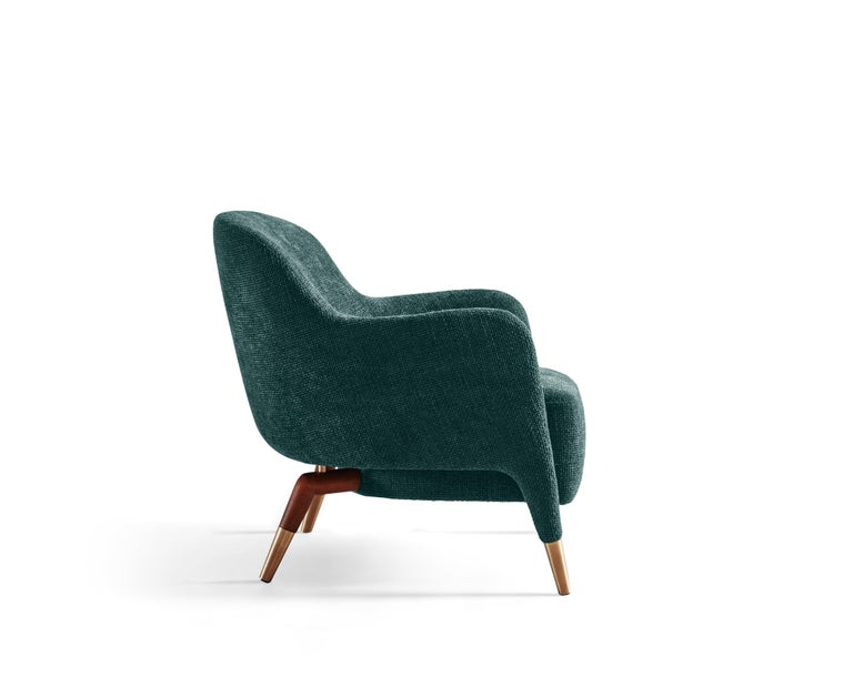 Modern Molteni&C D.151.4 Armchair in Petroleum Blue Boucle Fabric by Gio Ponti For Sale