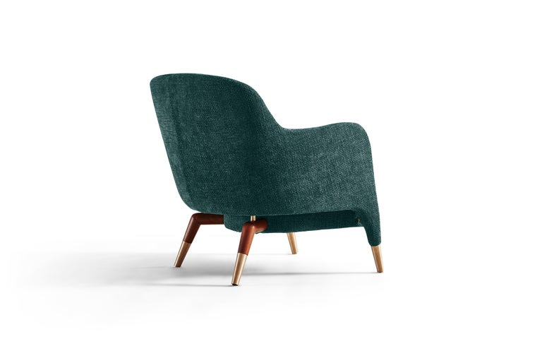 Italian Molteni&C D.151.4 Armchair in Petroleum Blue Boucle Fabric by Gio Ponti For Sale