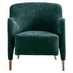 Molteni&C D.151.4 Armchair in Petroleum Blue Boucle Fabric by Gio Ponti
