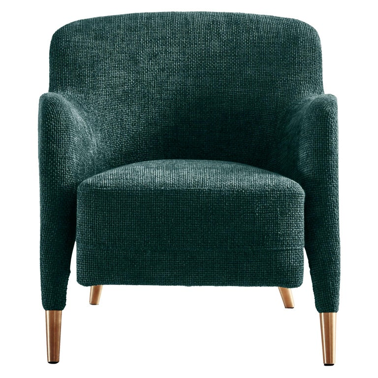 Molteni&C D.151.4 Armchair in Petroleum Blue Boucle Fabric by Gio Ponti For Sale