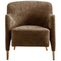 Molteni&C D.151.4 Armchair in Taupe Leather by Gio Ponti