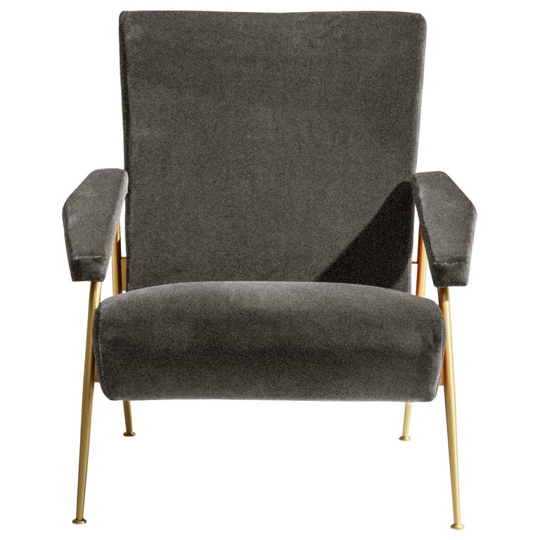 Molteni&C D.153.1 Armchair in Anthracite Chenille by Gio Ponti For Sale