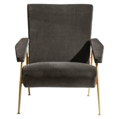Molteni&C D.153.1 Armchair in Anthracite Velvet by Gio Ponti