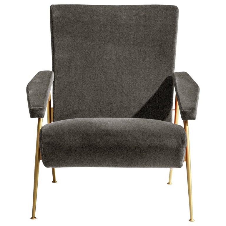For Sale: Black (WF395_Anthracite) Molteni&C D.153.1 Armchair in Chenille by Gio Ponti