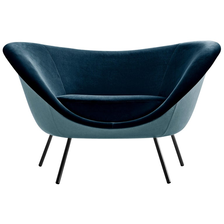 Molteni&C D.154.2 Armchair in Blue Leather by Gio Ponti For Sale